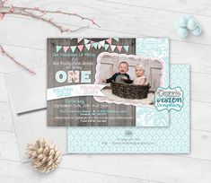 Items similar to Shabby chic TWINS birthday invitation The Design Files, My Design, Shabby Chic Birthday Party Ideas, Boy Birthday Invitations, Twin Birthday, 6 Photos, Get The Party Started, Twin Sisters, Print Packaging