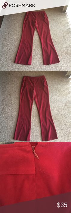 Vintage red flare trousers I LOVE THESE I just wish they fit me :-( waist measures around a size 30. They are amazing and so comfortable. Rock with docs and a band tee. Also had a size zipper closure UNIF Pants Boot Cut & Flare