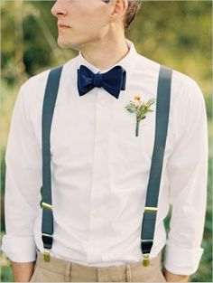 Can The Groom Wear Short Sleeves? ~ Well-Groomed How about rolled up sleeves with colored suspenders