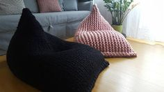 These Chunky Merino Wool Kids Bean Bags look so stylish and cozy you'd be insanely jealous of your kids and would want to sit in the bean bags yourself for the rest of your life. Bean Bag Knitted, Black Bean Bags, Crochet Pouf, Kids Bean Bags, Chunky Wool, Grey Flooring, Poufs, Light Beige, Floor Pillows