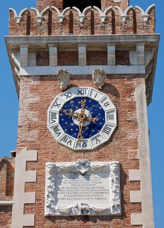 Arsenale Tower Clock in old Venice, Italy Unusual Clocks, Old Clocks, Red Roof, Grand Canal, Telling Time, Northern Italy, Italian Art, Small Island, Tower Clock