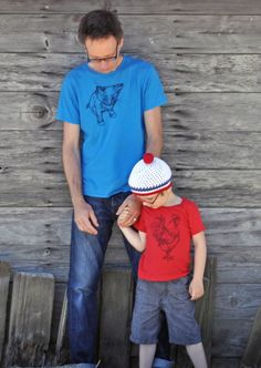 father & son ~ a kitty & a rooster...  (kiddo hat - @Butterscotch Beesting )