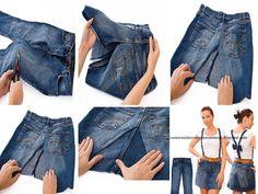 cambio de ropa Fabric Book Covers, Jean Crafts, Clothing Hacks, Diy Shirt, Refashion, Denim Fashion, Custom Clothes, Knit Crochet, Upcycle