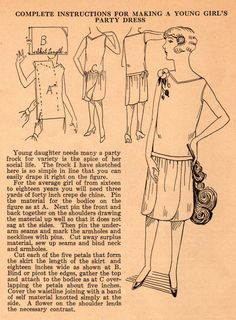 The Midvale Cottage Post: Home Sewing Tips from the 1920s: Teen's Petal-Skirted Party Dress