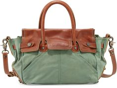 Frye Tracy Antiqued Leather Satchel Bag, Turquoise