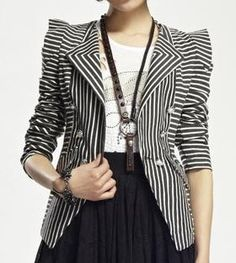 WOMEN BLAZER JACKET STRIPE SUIT CHIC PUNK LOLITA