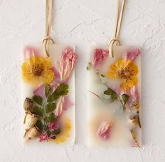 Tuck these Rosy Rings botanical wax sachets into a drawer, or hang in a closet with the attached suede cord, to spread the fresh scents of airy lemon blossoms, sheer rose petals, ambrosial lychee, cosmos, maidenhair fern, peony petals, poppy pods, essential & fragrance oils, wax, suede cord.
