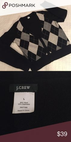 J. Crew black & gray argyle sweater J. Crew argyle v-neck cardigan, 90% wool, 10% cashmere. Wonderful quality, cute style! Top Rated Seller & Fast Shipper! Reasonable offers accepted! Build a Bundle! Pet & smoke free home. J. Crew Sweaters Cardigans