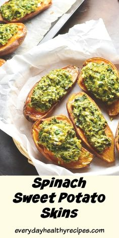 These simple 4-ingredient vegetarian stuffed sweet potatoes with spinach and feta make a quick and delicious snack. Also great as an appetizer or light lunch. Serve hot or cold. #sweetpotatorecipes #stuffedsweetpotatoes #spinachrecipes #healthysnacks #easyappetizer #sidedishrecipes #everydayhealthyrecipes Vegetarian Recipes Easy, Clean Eating Recipes, Cooking Recipes, Going Vegetarian, Spicy Recipes, Greek Recipes, Healthy Recipes, Healthy Appetizers, Yummy Snacks
