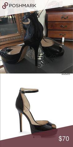 "Vince Camuto peep toe platform heel Black, 4.75"" inch, 1"" platform, leather, man-made lining and sole, made in China. Original Vince Camuto heels. Vince Camuto Shoes Heels"