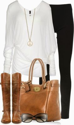 Simple outfits shirt, black leggings, boots... click on pic for more...so cute! I so need riding boots.