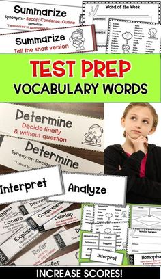 Test-taking Vocabulary Words and Bookmarks for grades 3, 4, & 5. Teach 1-2 vocabulary words per week and increase standardized test success. All of the words are words students may encounter during standardized tests.