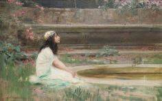 A young girl by a pool  , Herbert James Draper