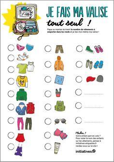 Alerte aux vacances ! Téléchargez la liste super pratique pour aider votre enfant à faire son sac lui-même. Babysitting, Organisation, Home Organization, Practical Life, Charts For Kids, Learning Centers, Kids And Parenting, Camping Checklist, Montessori