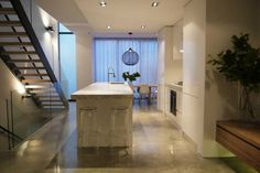 Recent polished concrete and epoxy flooring projects around Melbourne & Victoria by Concrete Grinding Concepts. Cabinetry, Flooring, Flooring Projects, Concrete Projects, White Cabinetry, Polished Concrete, Floor Finishes, Concrete Floors, Galley Kitchen