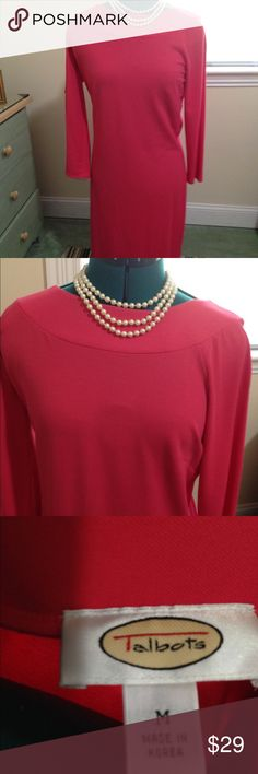 Talbots Coral Dress Size M Elegant coral dress with boat neck by Talbots's worn once. Size M talbots Dresses Midi