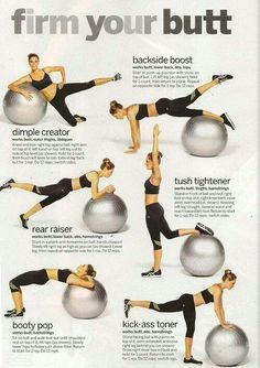 Gym ball exercises for your glutes. - Fitness is life fitness is BAE! Tap the pin now to discover Print Fitness Leggings from super hero leggings gym leggings fitness leggings and more that will make you scream YASS! Yoga Fitness, Fitness Workouts, At Home Workouts, Fitness Tips, Health Fitness, Yoga Ball Workouts, Fitness Ball Exercises, Body Exercises, Workout Ball