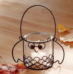 Oliver Owl wire tealight holder: cute hanging or tabletop fall / Halloween decor
