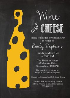 Chalkboard Wine and Cheese WIne Bottle Bridal Shower Wine Tasting