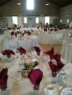 Circular tables with sweeping cream linens bring a romantic atmosphere to this enchanting May 2018 wedding in Ruthven Park's stone Coach House. Circular Table, Coach House, Wedding Rentals, Linens, Tables, Romantic, Table Decorations, Weddings, Cream