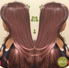 Gorgeous Rose Gold hues on a Natural Level 2 hair color! Who says brunettes and brown haired babes can't rock this tone? [ Hair by: Jodi G, Organic Color Systems ]