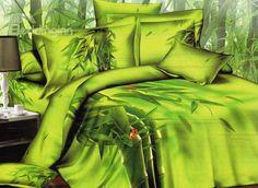 Green Bamboo Print 4-Piece Cotton Duvet Cover Sets