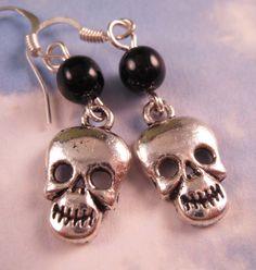 Cute (Halloween) Skull Earrings -   Skull Jewelry by bluerosebeadery, $6.00
