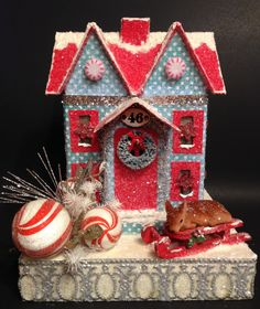 GLITTER HOUSE~Putz House~Christmas Sled with Flocked Deer~Vintage Ornaments~Christmas Village~Red and Blue~Lighted House by ThePokeyPoodle on Etsy