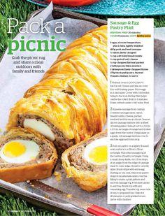 Recipes+: - Sausage & Egg Pastry Plait Grilling Recipes, Cooking Recipes, Healthy Recipes, Savoury Recipes, Sausage Plait, Breakfast Picnic, Sausage And Egg, Sausage Rolls, Savoury Baking