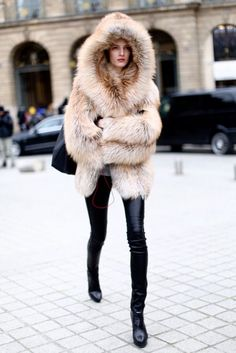 faux fur and leather leggings forever