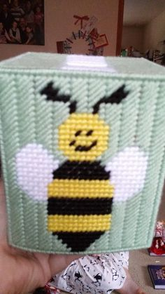 Made with yellow, black, white, gray, and honeydew green yarn. Comes with a boutique tissue box. This is already made by hand and ready to ship. Combined shipping is always offered Plastic Canvas Coasters, Plastic Canvas Tissue Boxes, Plastic Canvas Crafts, Plastic Canvas Patterns, Tissue Box Holder, Tissue Box Covers, Card Holder, Needlepoint Patterns, Cross Stitch Patterns