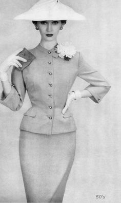 dovima in a dior suit in the 1950s