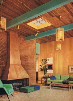 MCM heaven....the beams, the pendants, the fireplace, all of it!
