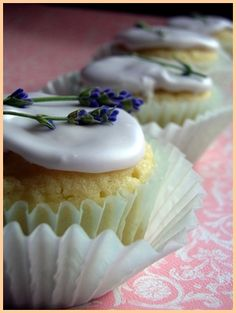 Lavender Cupcake Recipe  ~ ~ ~ Subtly scented with lavender, these golden, buttery cupcakes are deliciously simple with an understated elegance.