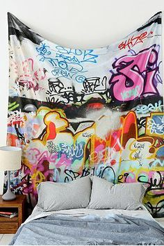 Graffiti Tapestry: For the living room. Dream Bedroom, Bedroom Wall, Bedroom Decor, City Bedroom, Wall Beds, Bedroom Ideas, Graffiti Room, Graffiti Lettering, Typography