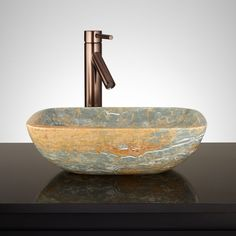 Vena Rectangle Blue Onyx Vessel Sink