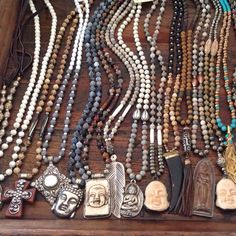 Buddhas, feathers, horns and exotic beads. All pieces are one of a kind. To purchase email lisajilljewelry@gmail.com