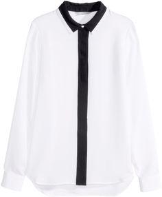 H&M - Long-sleeved Blouse - White - Ladies
