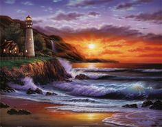 Sunset Lighthouse.   Click to buy this Sunset poster!