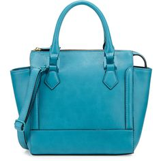 Neiman Marcus Convertible Satchel Bag ($56) ❤ liked on Polyvore featuring bags, handbags, peacock, top zip satchel, peacock purse, blue handbags, square purse and top handle handbags