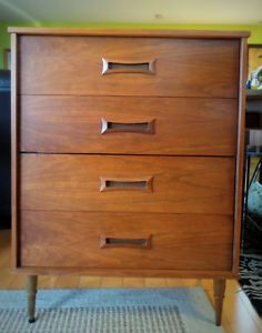 Mid Century Modern Tallboy 4 Drawers Dresser By L