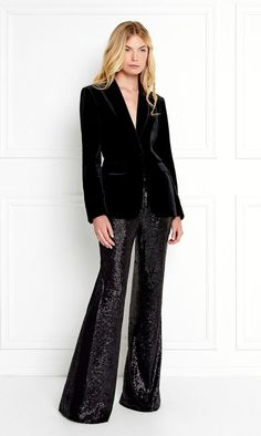 Eliza Velvet Blazer by Rachel Zoe Black Sequin Pants, Black Velvet Blazer, Velvet Pants, Black Sequins, Rachel Zoe, Sequin Outfit, Sequin Dress, Overalls Women, Velvet Fashion