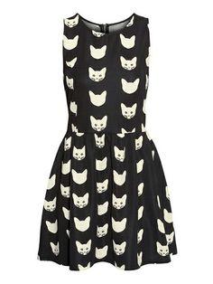 Rerto Style Scoop Neck Kitten Print Color Block Sleeveless Women's DressCasual Dresses | RoseGal.com