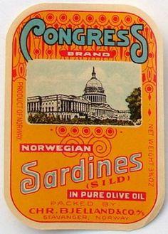 CONGRESS Vintage Norwegian Sardine Label, vertical YUK!