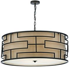 Large Art Deco Drum Pendant Ceiling Light Bronze With