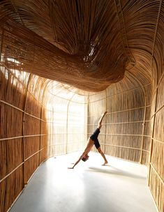 Thai architecture studio Enter Projects Asia has used rattan to enclose a series of studios for yoga brand Vikasa at its headquarters in Bangkok. Bangkok, Yoga Studio Home, Journal Du Design, Colossal Art, Glass Facades, Ground Floor Plan, Dezeen, Create Space, Three Dimensional