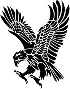 I created this about 5 years ago.. It was designed for a tattoo flash set that I no longer sell... Tribal Eagle Tattoo, Tribal Tattoos, Tribal Drawings, Eagle Cartoon, Indian Tattoo Design, Stencil Templates, Stencil Designs, Eagle Drawing, Leather Working Patterns