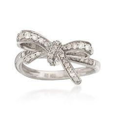 Ross-Simons - .35 ct. t.w. Diamond Bow Ring in Sterling Silver - #786421