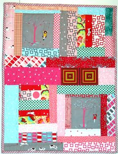 tiny and cute- Mini PINK quilt - GreenGoose via Etsy