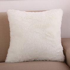 WOMHOPE 18 x 18 Long Faux Fur Solid Soft Smooth Cushion Decorative Pillow Covers Casual Style Square Throw Pillowcase Cushion Covers for SofaBedChair 1 White ** Find out more about the great product at the image link. Decorative Pillow Covers, Throw Pillow Covers, Pillow Cases, Sofa Bed, Bed Pillows, Cushions, Christmas Pillow Covers, Faux Fur